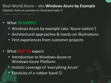 Real World Azure: Elasticity from on-premise to Cloud (and back)