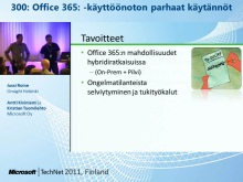 TechNet 2011 - Tietoty&#246; osa 1: Office 365 -k&#228;ytt&#246;&#246;noton parhaat k&#228;yt&#228;nn&#246;t