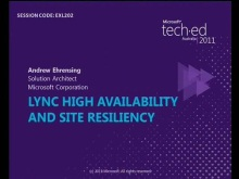 Microsoft Lync 2010: High Availability and Resiliency